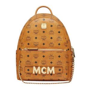 MCM Trilogie Stark Backpack in Visetos – Cognac