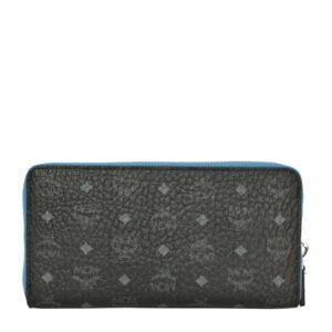MCM Color Visetos Zip Around Wallet – Black
