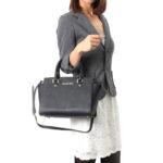 Michael Kors Selma Black Saffiano Leather Medium Top Zip Satchel Bag – Black / Gold