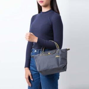 Longchamp Club 短柄 細手提袋 鐵灰色 (300)