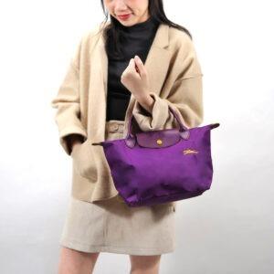 Longchamp Club 短柄 細手提袋 紫羅蘭色 (P21)