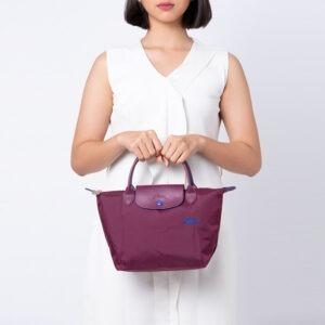 Longchamp Club 短柄 細手提袋 梅紅色 (P22)