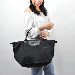Longchamp Club 短柄 中手提袋 黑色 (001)
