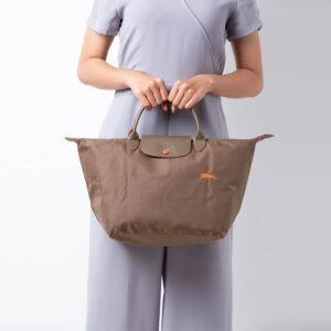 Longchamp Club 短柄 中手提袋 卡其色 (A23)