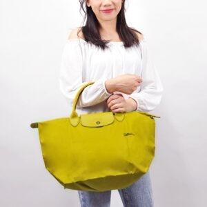 Longchamp Club 短柄 中手提袋 檸檬黃 (P19)