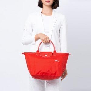 Longchamp Club 短柄 中手提袋 朱紅色 (P20)