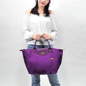 Longchamp Club 短柄 中手提袋 紫羅蘭色 (P21)