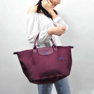 Longchamp Club 短柄 中手提袋 梅紅色 (P22)