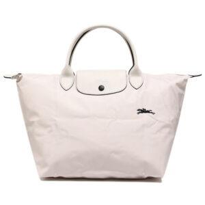 Longchamp Club 短柄 中手提袋 粉白色 (337)