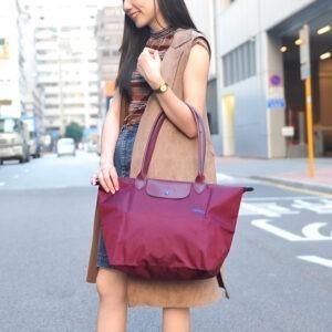 Longchamp Club 長柄 大購物包 梅紅色 (P22)