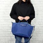 Longchamp NÉO 兩用系列 中手袋 丹寧布藍 (087)