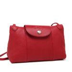 Longchamp Cuir 小羊皮手拿斜背包 櫻桃紅 (045)