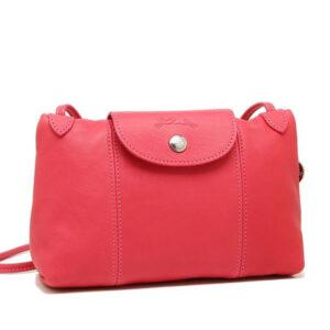 Longchamp Cuir 小羊皮手拿斜背包 粉紅色 (018)