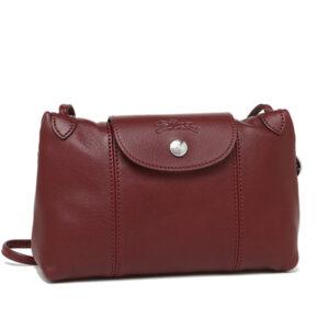 Longchamp Cuir 小羊皮手拿斜背包 深紅色 (945)