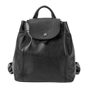 Longchamp Cuir 小羊皮 迷你背包 黑色 (001)