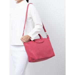 Longchamp Cuir 小羊皮 兩用系列 中手袋 蜜桃粉 (610)