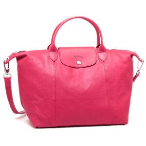 Longchamp Cuir 小羊皮 兩用系列 中手袋 粉紅色 (C88)