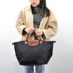Longchamp 短柄 中手提袋 黑色 (001)