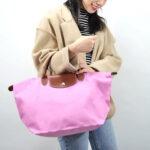 Longchamp 短柄 中手提袋 粉紅 (058)