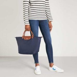 Longchamp 短柄 中手提袋 海軍藍 (556)