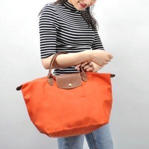 Longchamp 短柄 中手提袋 橙色 (B44)
