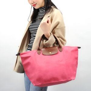 Longchamp 短柄 中手提袋 粉紅 (B49)