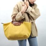 Longchamp 短柄 中手提袋 咖喱色 (C91)